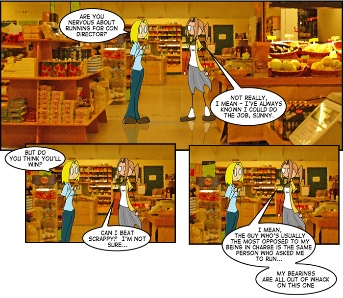 Why are they in a grocery store? Because it's visually different than all the other comics this week.  Yep.  That's my reason.